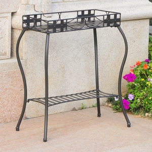 Santa Fe Nailhead Plant Stand - Antique Black