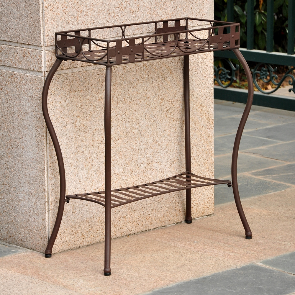 Santa Fe Rectangular Plant Stand Wrought Iron Rustic