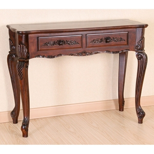 Victorian Wood Console Table - 2 Drawers, Queen Anne Style