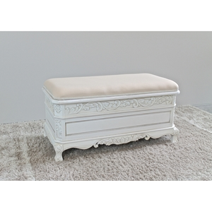 Antique White Wood Bench - Cushioned, Storage Compartment