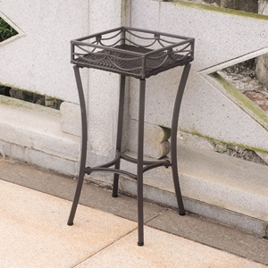 Valencia Resin Wicker / Steel Plant Stand - Chocolate