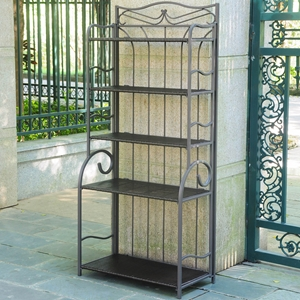 Valencia 5-Tier Bakers Rack - Chocolate Wicker, Resin Wicker / Steel