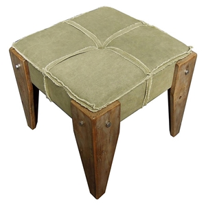 Charlotte Fabric Vanity Stool - Tufted, Wood Legs, Sage Fabric