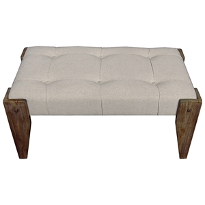 Charlotte Vanity Bench - Tufted, Wood Legs, Ivory Fabric
