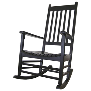 Black Solid Hardwood Porch Rocker