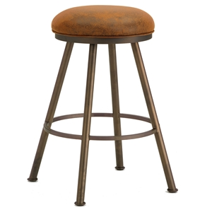 "Alexander 26"" Backless Swivel Counter Stool - Round Seat, Microfiber"