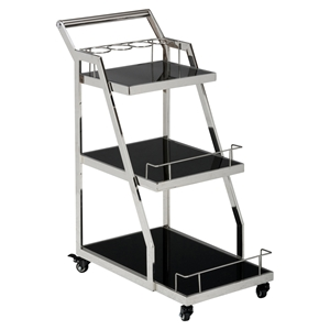 Tuxedo 3-Shelf Drink Cart - Stainless Steel and Black
