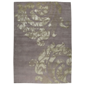 Babette Hand Knotted Wool Rug in Grey and Silver