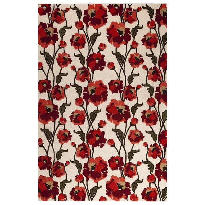 Gillian Hand Tufted Wool Rug in Off-White and Red