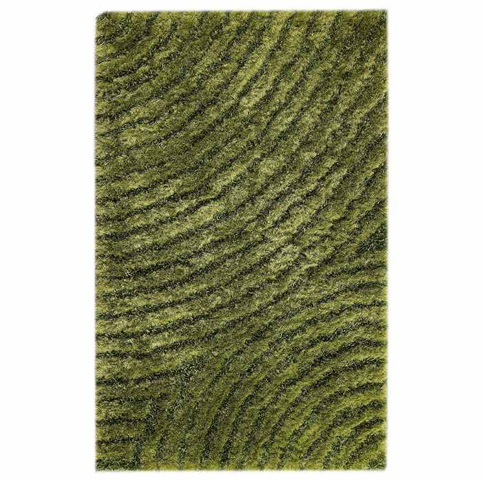 Missy Hand Woven Polyester Shaggy Rug in Green