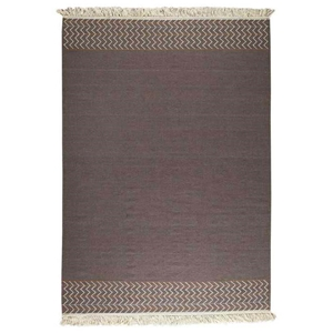 Naida Hand Woven Kelim Wool Rug in Brown