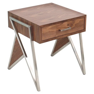 Tetra End Table - Walnut, Stainless Steel Silver