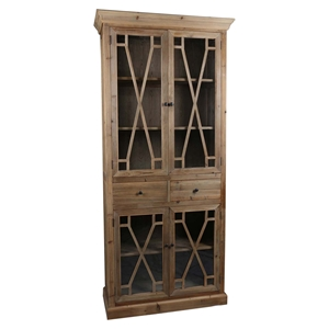 Capulet Tall Display Cabinet - 4 Doors, 2 Drawers, Natural