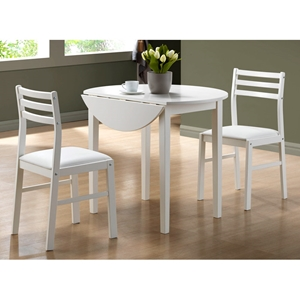 Purity 3 Piece Dinette Set - Round Table Top, White