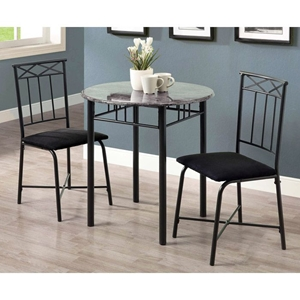 Illusion 3 Piece Bistro Set - Round Top Table, Charcoal Finish