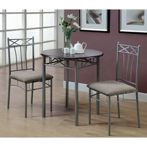 Imagine 3 Piece Bistro Set - Cappuccino, Silver Metal