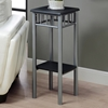 Infinity Plant Stand - Black Top & Shelf, Silver Finished Legs - MNRH-I-3094