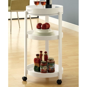 Beatitude Server Cart - Removable Tray, Caster Wheels, White