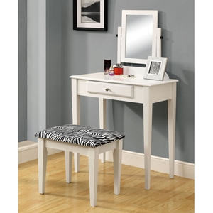 Immaculate Vanity Table and Stool - White, Zebra Patterned Seat
