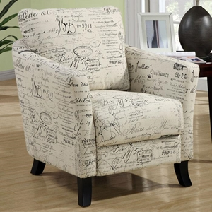 Faust French Vintage Club Chair - Flared Legs, Light Cream Fabric