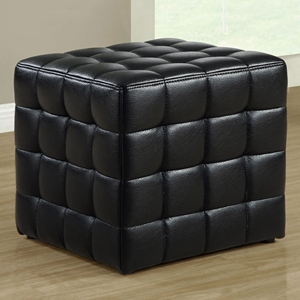 Rammstein Cube Ottoman - Square Tufts, Black