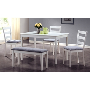 Innocence 5 Piece Dining Set - White, Ladder Back Chairs