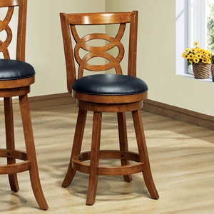Loyalty Swivel Counter Stool - Dark Oak, Black Seat (Set of 2)