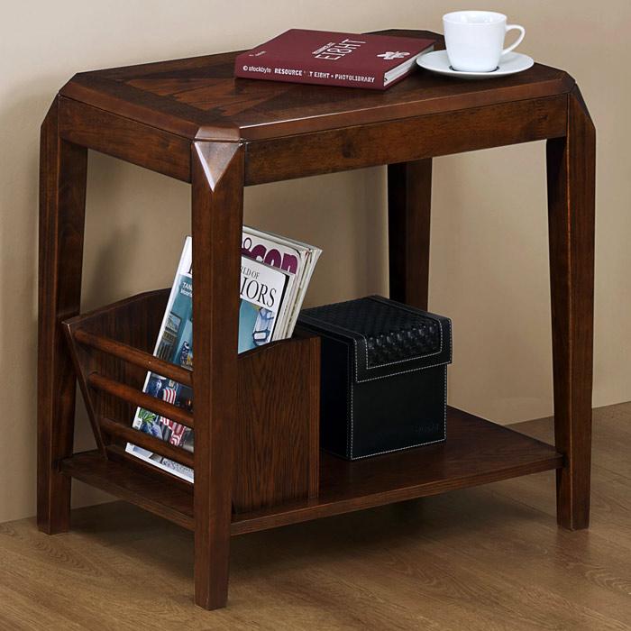 Redemption End Table With Magazine Rack Brown Oak Veneer