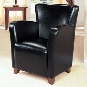 Europa Black Club Chair - Track Arms, Tapered Feet