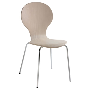 Bunny Side-17 Side Chair - White Wash, Chrome Leg