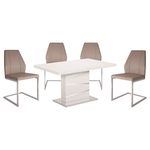 5 Pieces Cafe-445 Dining Set - Taupe, White