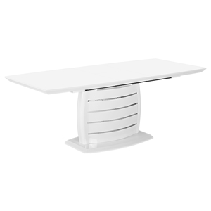 Cafe-446 Extended Dining Table - White, Pedestal Base