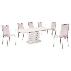 7 Pieces Cafe-446 Extended Dining Set - White