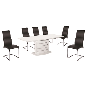 7 Pieces Cafe-446 Extended Dining Set - High Back, Black, White