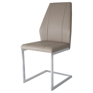 Side-Iowa Side Chair - Taupe, Chrome Leg