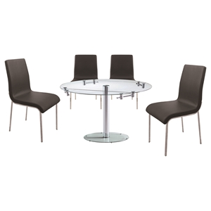 5 Pieces Cafe-409 Round Extended Dining Set - Black, Chrome