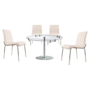 5 Pieces Cafe-409 Round Extended Dining Set - White, Chrome