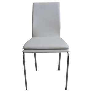 Side-414 Side Chair - White, Chrome Leg