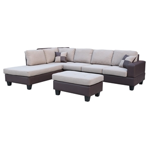 Sentra Sectional Sofa - Left Arm Facing Chaise, Light Brown