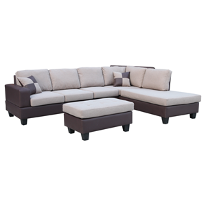 Sentra Sectional Sofa - Right Arm Facing Chaise, Light Brown