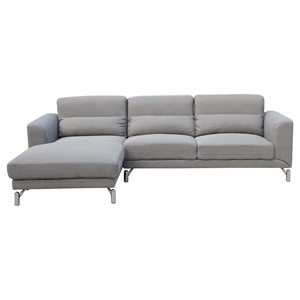 Clarinda Sectional Sofa - Left Arm Facing Chaise, Silver Gray