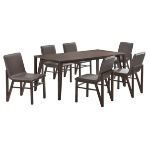 7 Pieces Cafe-501 Dining Set - Brown, Wenge
