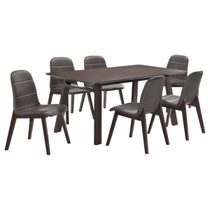 7 Pieces Cafe-502 Rectangular Dining Set - Brown, Wenge