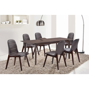 7 Pieces Cafe-505 Extended Dining Set - Brown, Wenge