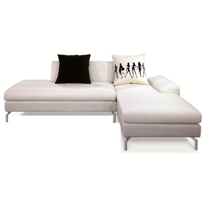 Bosnia Sectional Sofa - Cream White Fabric, Right Facing Chaise