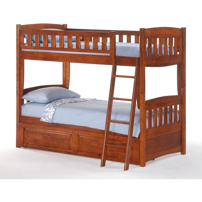 Cinnamon Twin Bunk Bed Cherry Finish Dcg Stores