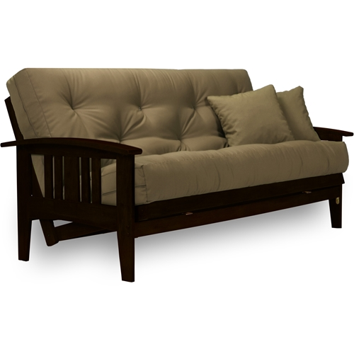 Westfield Dark Espresso Complete Futon Set Rich Finish Curved Arms Frame And Mattress Dcg