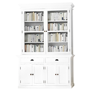 Halifax Glass-Display Hutch Unit - Pure White