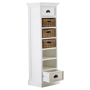 Halifax Storage Tower with Basket Set - Pure White
