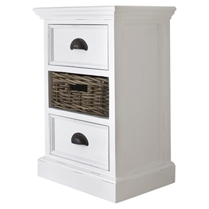 Halifax Bedside Storage Unit with Basket - Pure White